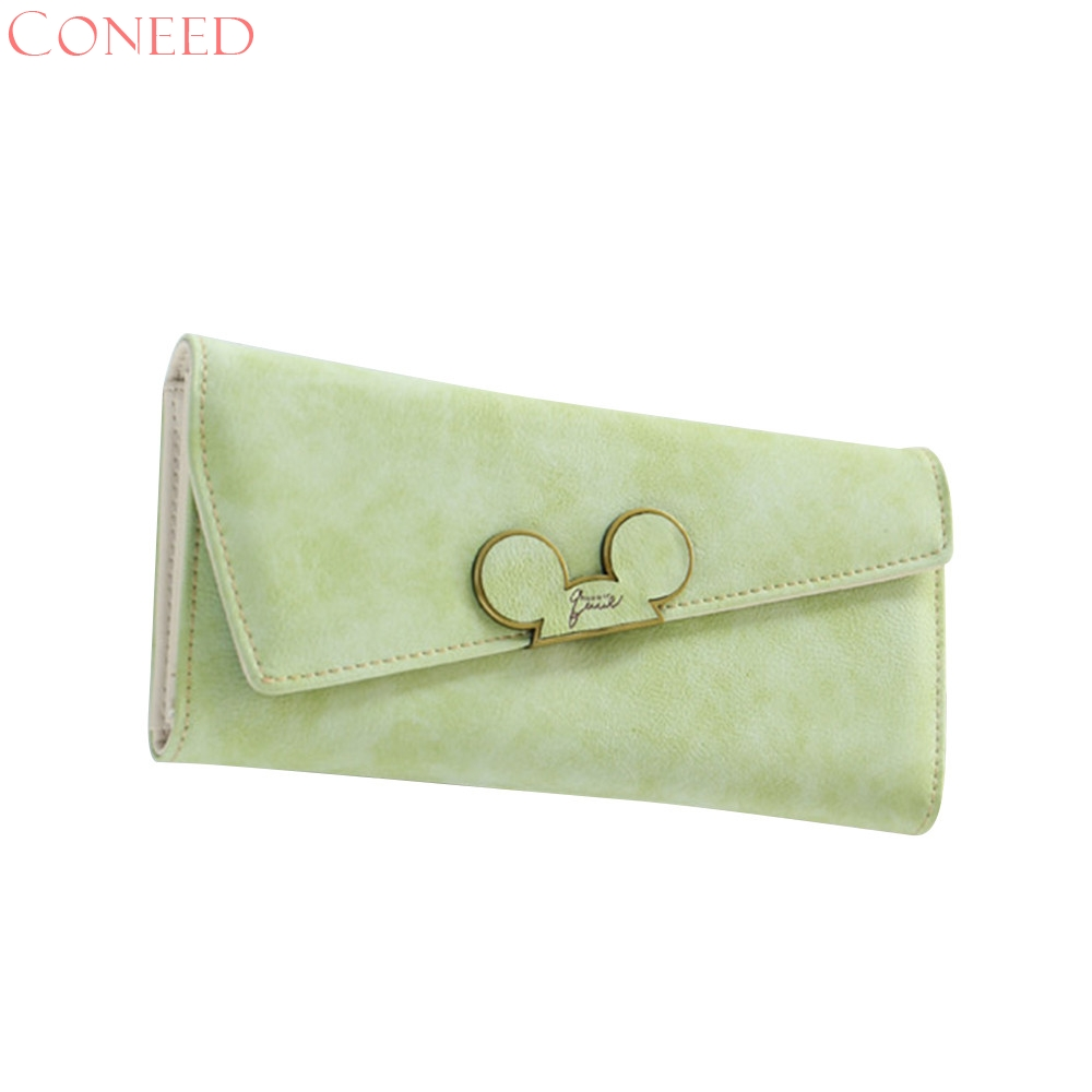 CONEED 2018Fashion designer Color Scrubs Long Women Wallet Ladies Mickey Purse Coin purses holders Lady Pocket Wallets July2720x