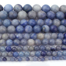 "15""Strand Natural Stone Beads Smooth Blue Dongling Stone Beads Round Loose Spacer Beads For Jewelry Making Bracelet Neck 4-12mm(China)"