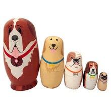 5PCS Novelty Russian Nesting Wooden Matryoshka Dolls Pet Dog Russian Traditional Feature Ethnic Style Nesting Dolls Home Decor