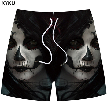 KYKU Brand Skull Shorts Men Character Beach shorts Cargo Black Terror 3d Print short Cool Casual mens Short Pants Summer 2018