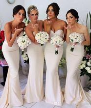 Ivory /Champagne Sweetheart Mermaid Sequins Beading Bridesmaid Dress Wedding Party Gown gown demoiselle dhonneur
