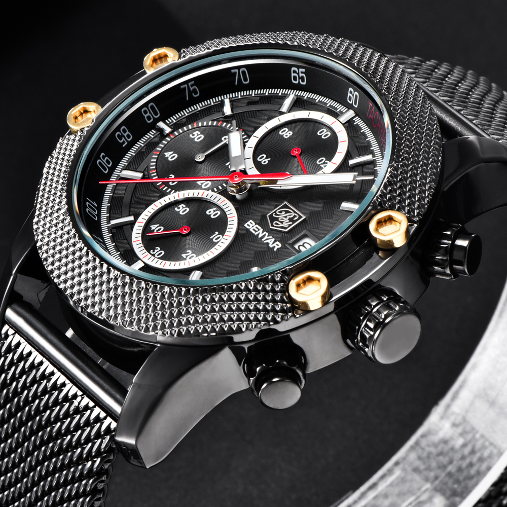 BENYAR Top Luxury Brand Sport Fashion Watches Men Steel Mesh & Rubber Band Waterproof Quartz Watch Male Chronograph dropshipping benyar sport men quartz wristwatch date chronograph calendar dial mesh stainless steel band cost effective male watches gift