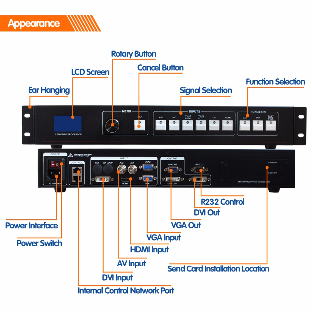 MVP508 led video processor seamless switching video wall controller for outdoor advertising led display screen Screens     - title=