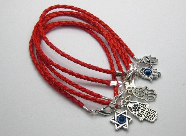 50 Pcs Mixed Encantos Red Leatheroid Trançado Cordas Kabbalah Hamsa Mão Pulseiras K01138