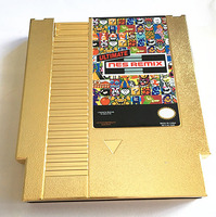황금 색상 금속 도금 궁극적 NES 리믹스 154 in1 게임 카트리지 8 비트 게임 플레이어 드롭 배송