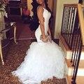 Blanco baile vestidos sirena larga negritud vestido de fiesta vestidos del desfile