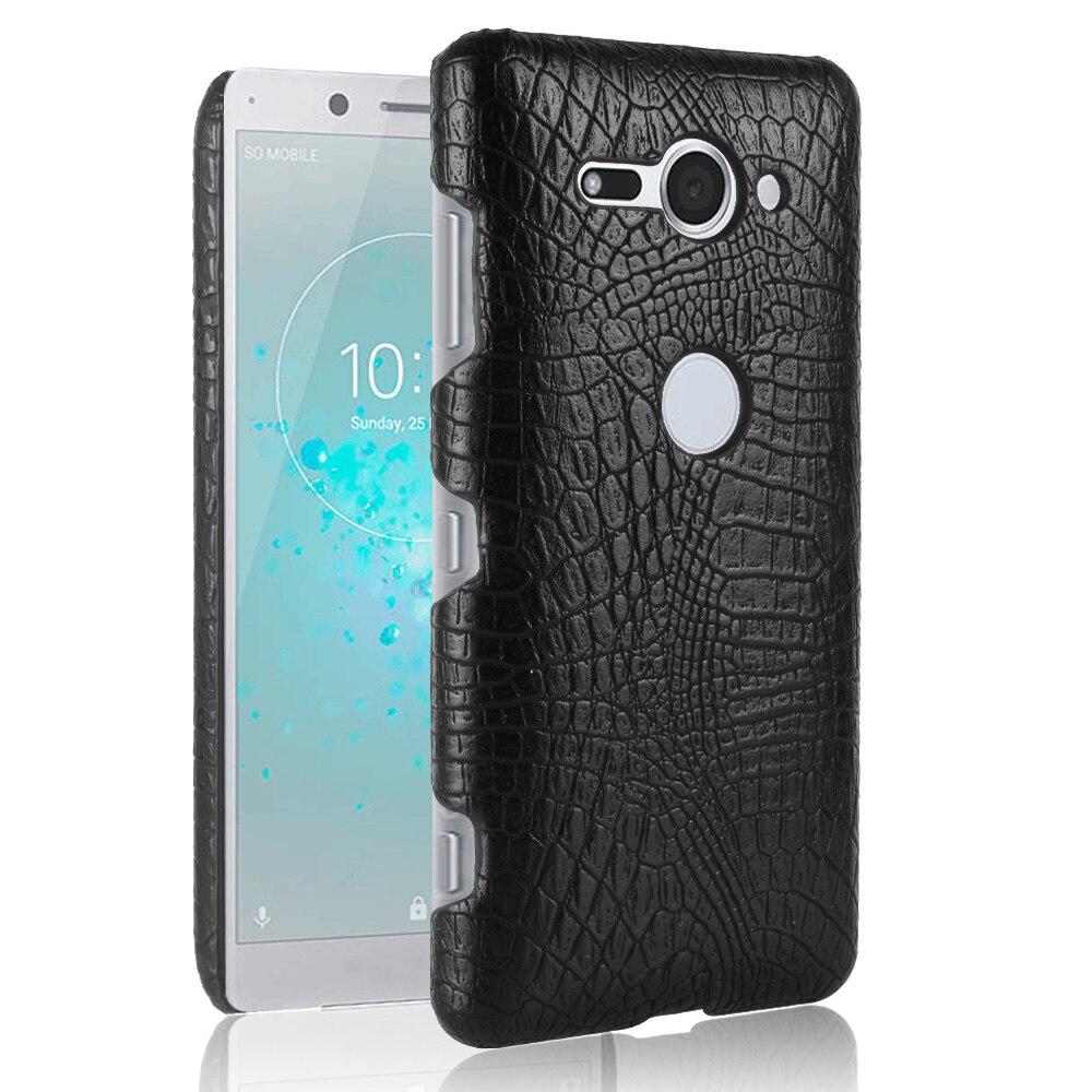 Купить Для sony Xperia XZ2 компактный ультратонкий ччехол крокодиловой кожи текстура жесткий кожаный Обложка щит защита смартфона Shell на Алиэкспресс