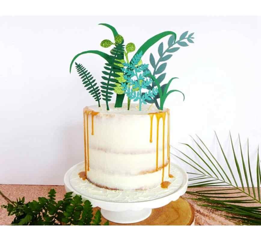 7 pçs/set Deixa Bolo Topper Bolo De Aniversário Decorações Do Partido Da Selva Crianças Favor Cupcake Toppers Papel Planta Verde Decoração Do Casamento