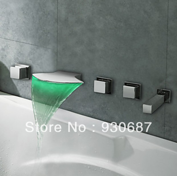Contemporary Polished Chrome Finish LED Thermochromic Waterfall Bathroom Basin Bathtub Faucet