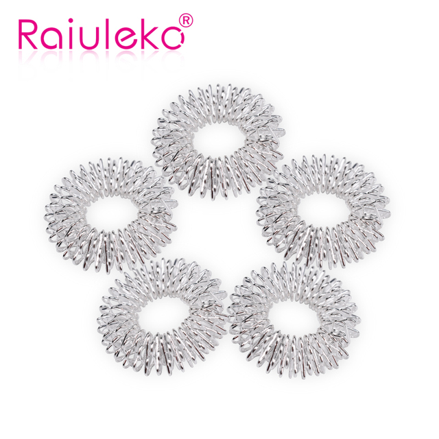 10Pcs Silver Massage Acupuncture Finger Rings Health Care Acupressure Hand Massager Pain Relief Stress Relief Help Sleep Tools 2