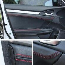 Для Honda Civic Седан 10th 16 17 автомобилей Межкомнатная дверь Панель подлокотника царапинам автомобилей-Обложки Обрезать стиль аксессуары наклейки