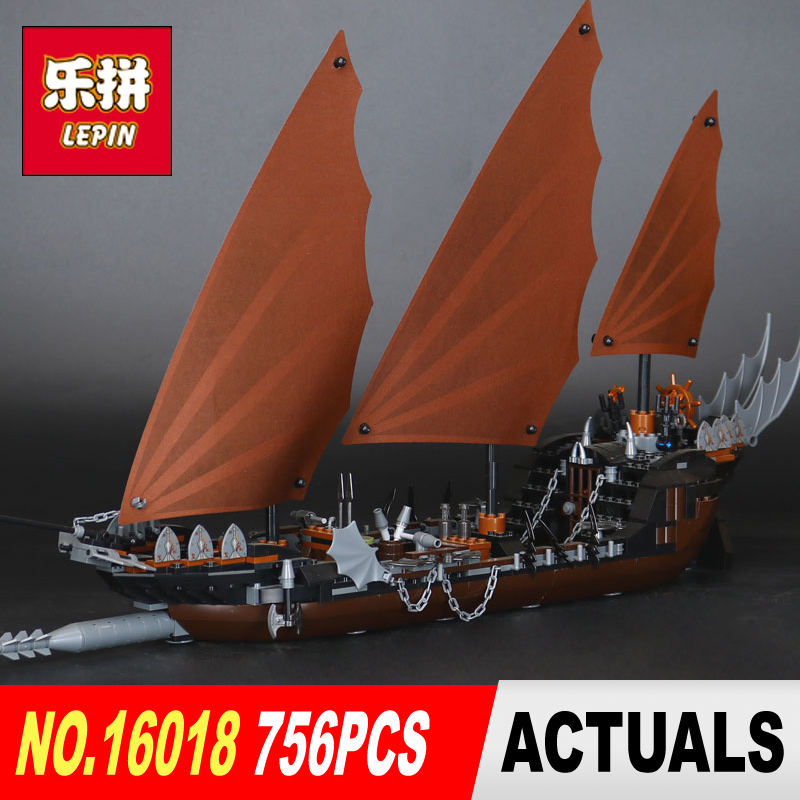Lepin 16018 Genuine New The lord of rings Series 756pcs The Ghost Pirate Ship Set Building Block Brick Toys 79008 children gifts industrial pipe wine racks metal decorative wine holder wall hanging shelf wood antique wine bottle holders