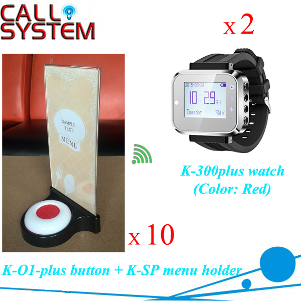 Electronic Table Buzzer Calling Service for Restaurant Pager 2 Watch Receiver 10 Bell Buzzer 10 Holders
