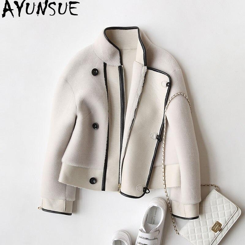 Ayunsue 2018 натуральном овечьем сдвига Шуба Зимние Для женщин шубы из натуральной шерсти куртки для Для женщин двигателя Босоножки из искусстве...