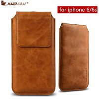 Jisoncase Pouch For IPhone 6 6s Case Luxury Genuine Leather Coque Cover For IPhone6 6s Bag