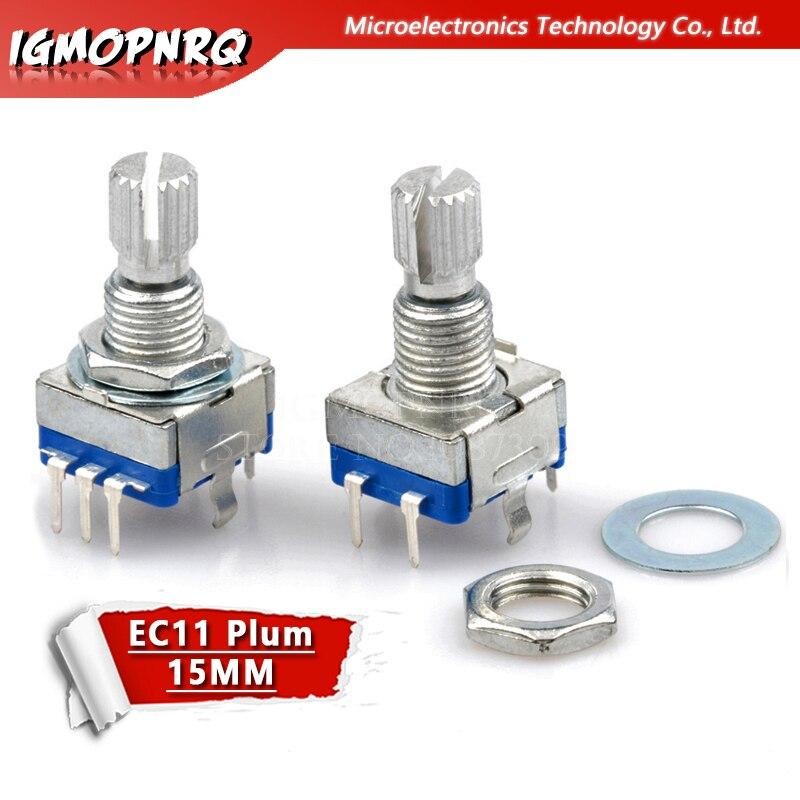 2 pièces poignée prune 15mm encodeur rotatif codage interrupteur/EC11/potentiomètre numérique avec interrupteur 5 broches