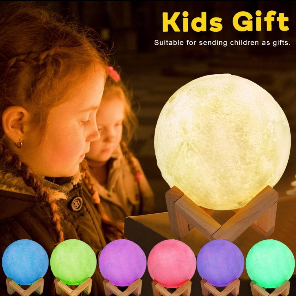 5.9 Inch Magical Moon Rechargeable LED Night Light Moonlight Desk Lamp 3D Touch/Pat/Telecontrol Color Change for Creative Gift