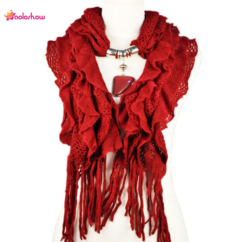 AOLOSHOW Fashion Jewelry Pendant scarf Necklace for women winter warm scarf shaped pendant jewelry necklace scarf