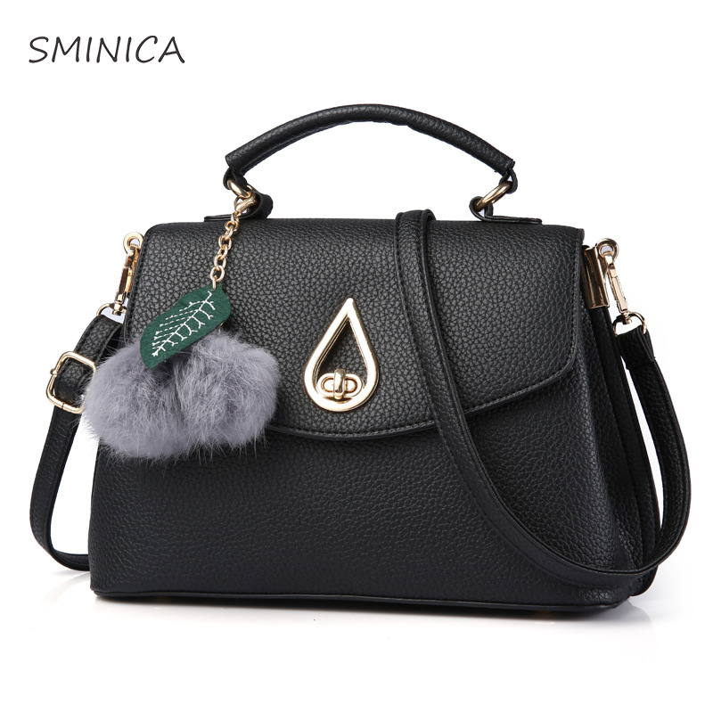 women handbags 2017 luxury designer High Quality pu leather shoulder bag women Top-Handle Bags lady Fashion Lock Plush ball