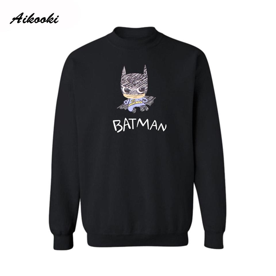 Aikooki Hot sale Cartoon Batman Harajuku Sweatshirt Hoodies Men Women Couples Girl Bat Man Brand Hoodies Male Female Clothing