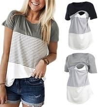 Женская одежда для беременных, Одежда для беременных, футболка для кормления грудью, топы для кормящих, полосатая футболка с коротким рукавом