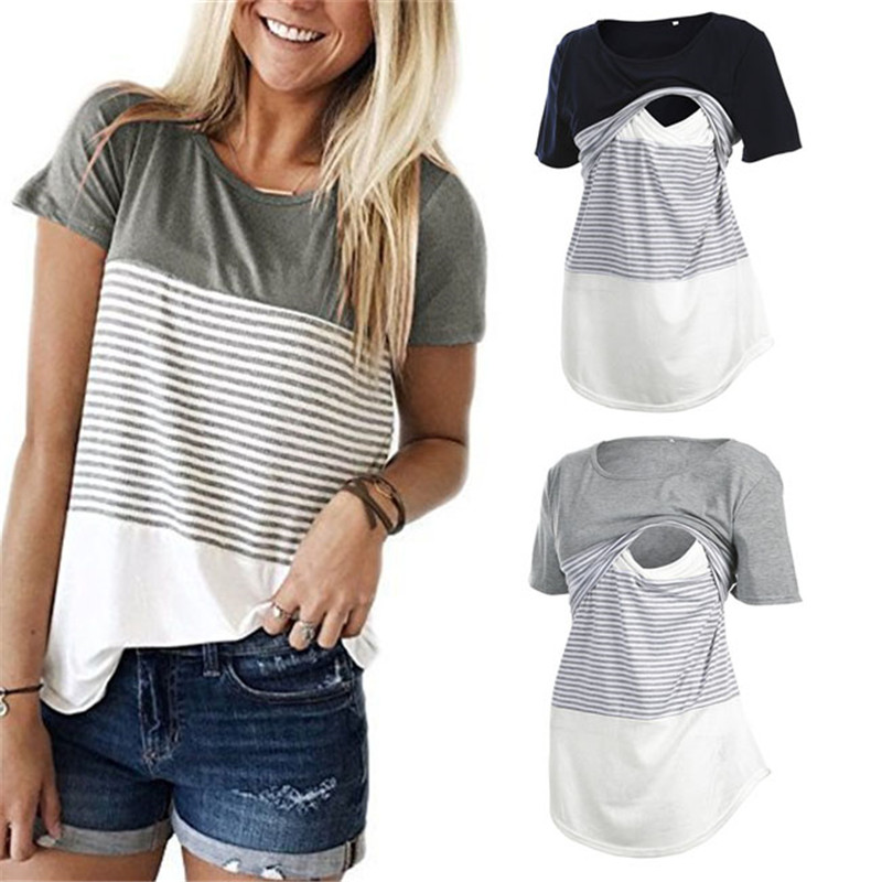 Women Pregnancy Clothes Maternity Clothing Breastfeeding Tee Nursing Tops Striped Short Sleeve T-shirt contrast striped petal sleeve dip hem shirt
