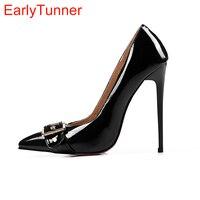 2017 Brand New Sexy Black Red Women Glossy Formal Pumps White Fashion High Heels Dress Ladies Shoes EM3-8 Plus Big Size 33 47 12