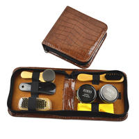 Leather Case Shoe Care Kit Shine Black & Neutral Polish Brushes Set for Boots Shoes Sneakers Cleaning
