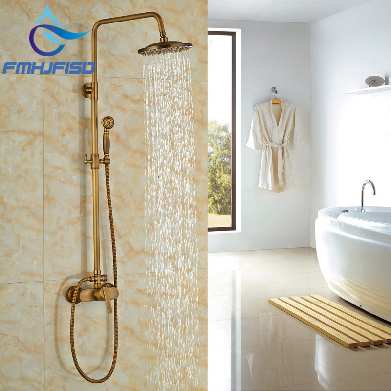 цены Wholesale and Retail Bathroom Shower Faucet Antique Brass Bathroom Shower Set Faucet Mixer Tap Wall Mounted Shower