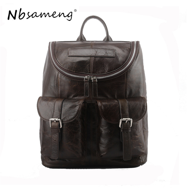 NBSAMENG 100% Genuine Cowhide Leather Casual Backpack Men Travel Bags Large Rucksack School Bagpack meiyashidun men backpack casual chest bag multifunctional molle military backpack shoulder bags travel bagpack school rucksack