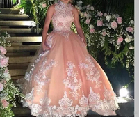 Tulle Applique High CollarBall Gown Organza Sheer Straps SexyvSimple 2019 New BeadedOpen back Sleeveless Meat pink dress