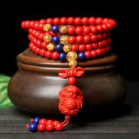 Natural Cinnabar Prayer Gold Lapis lazuli Beads Tibetan Buddhist carving Dragon ball pendant Bracelet Rosary Bangle Jewelry