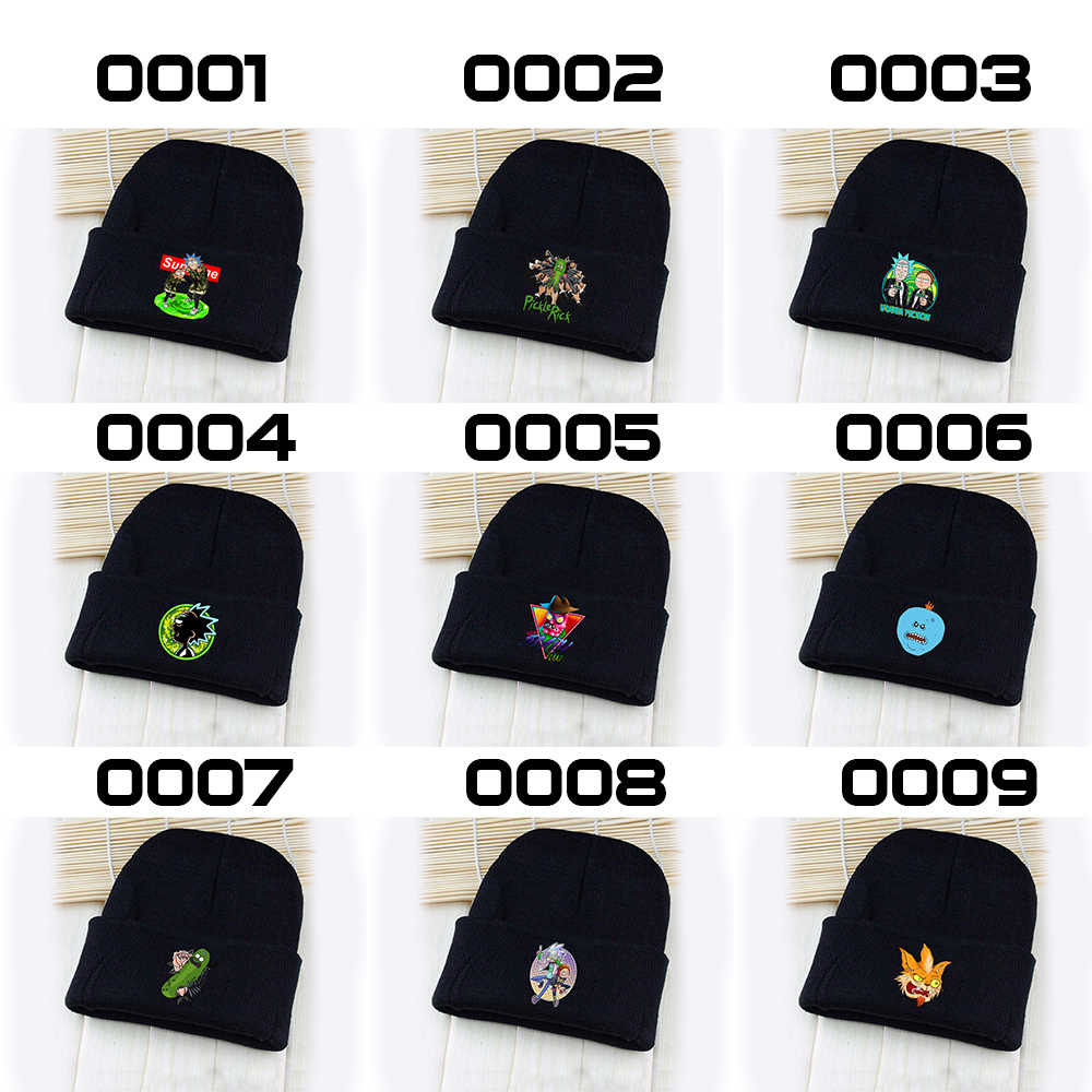 a06dd2981e87d Wellcomics Rick and Morty Pickle Rick Symbol Black Skullies Beanie Knitted  Cotton Hat Cap Winter Cosplay