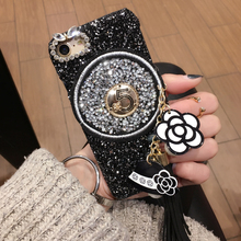 high fashion bling Luxury Camellia glitter tassel cell phone Case for apple iphone 6 6s plus 6P 7 7P 8 8P PC hard cover capa
