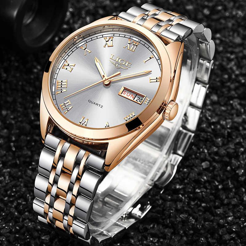 LIGE Moda Kadınlar Saatler Bayanlar Üst Marka lüks Su Geçirmez altın kuvars saat Kadınlar Paslanmaz Çelik Tarihi Giyim hediyelik saat 2019