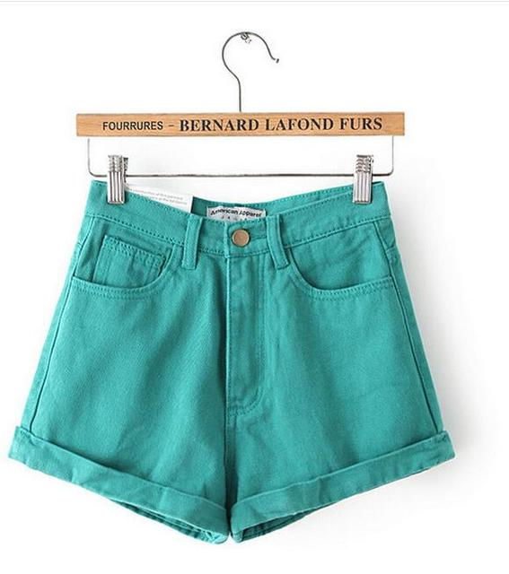 Pantalones Cortos Ropa americana Nueva Moda caramelo de Las Mujeres de Cintura Alta Pantalones Cortos Mujer Shorts Feminino