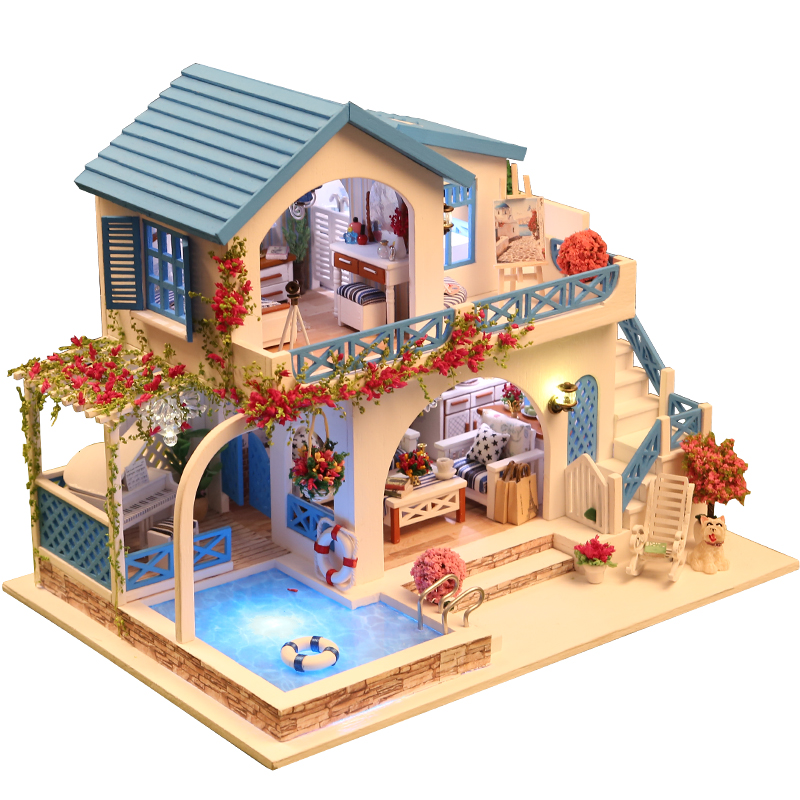 10 Kinds DIY Doll House With Furniture Children Adult Miniature Wooden DollHouse Construction Model Building Kits Doll House Toy