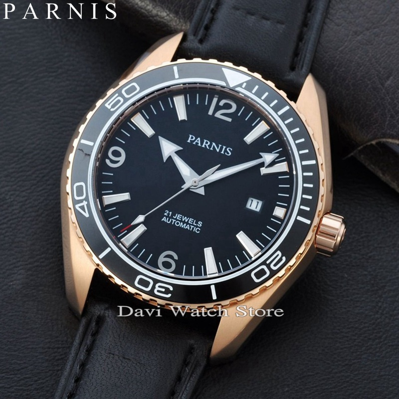 7f5f247af Parnis 45mm Rose gold case Ceramic Bezel Sapphire Glass Men's MIYOTA  Automatic mens Watch-in Women's Watches from Watches on Aliexpress.com |  Alibaba Group