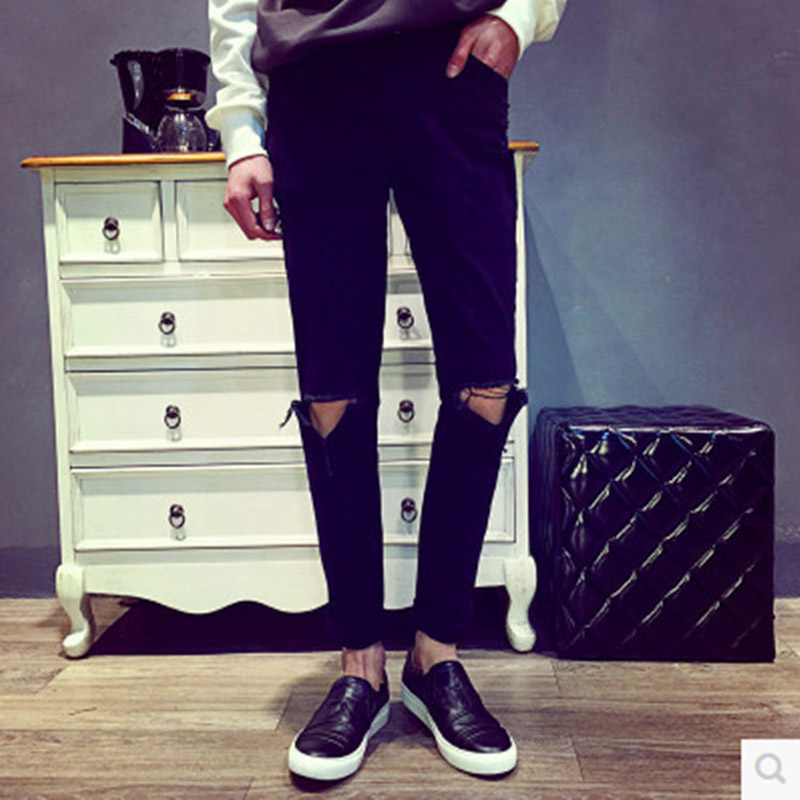 Fashion 2017 Summer Knee hole jeans Men Strong  personality Street City beggar Hip Hop Black Pencil pants Ankle Length Pants
