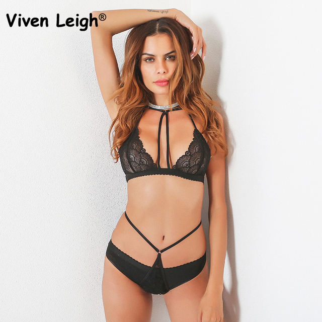 d24fcdcfc2 Viven Leigh Hot Erotic Underwear Sexy Lingerie Set Women Black Lace Halter  Bandage Bra and Panties Sets Exotic Intimates