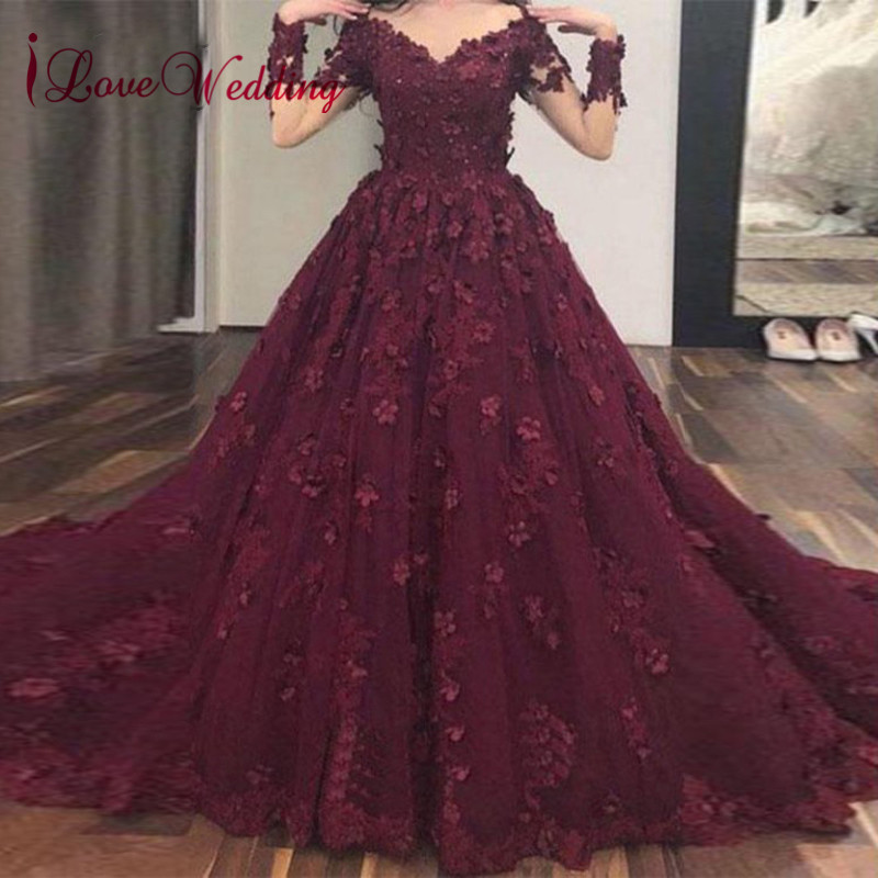 iLoveWedding 2019 Sexy Long Sleeves Formal   Dress   Custom made Ball Gown   Prom     Dresses   Party Gown for Women