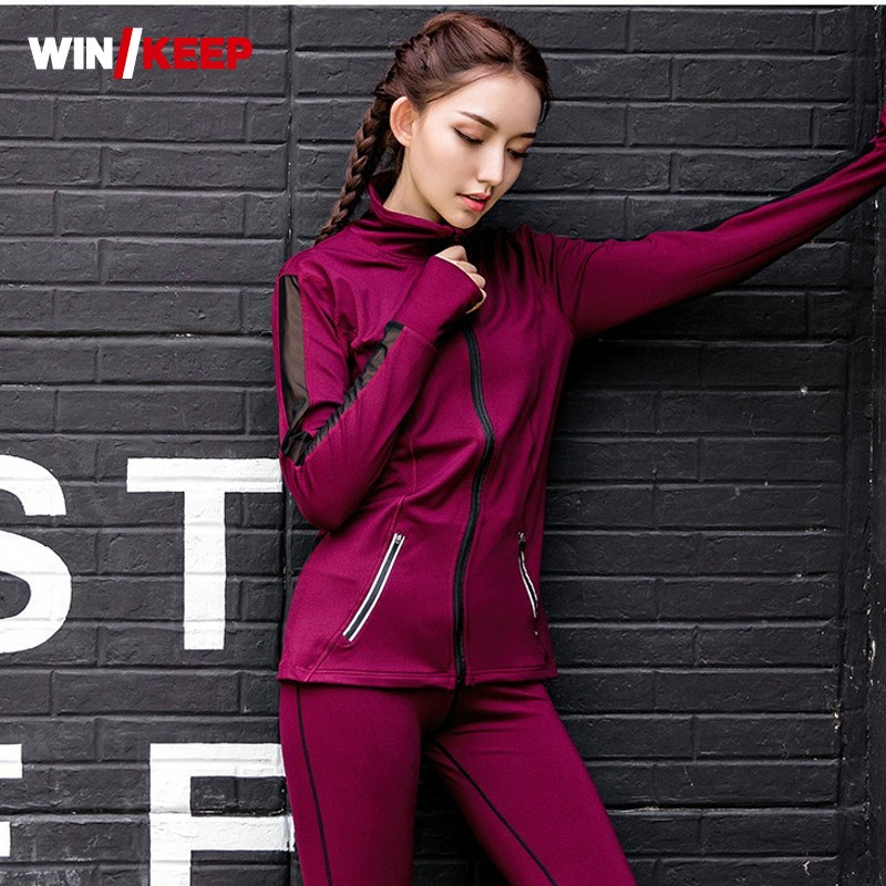 New Women Outdoor Running Quick Drey Sets Jacket+Sports Bra+Leggings Tracksuit Transparent Trousers Yoga Fitness Jogging Suits