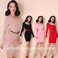 Palácio do Vintage 2015 outono nova mulher vestido de festa vestidos de camisola para o trabalho vestidos Cocktail Red importado - frete grátis china