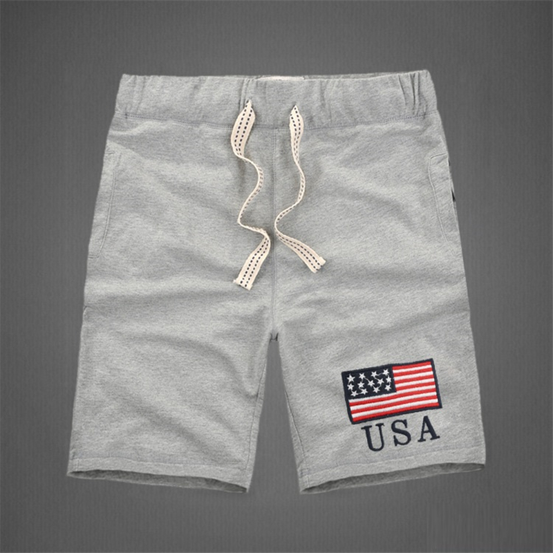 American style fashion mens shorts 100 cotton thick high quality knee length Embroidery letter decorated causal