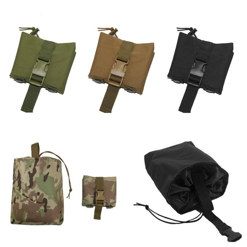 Abay Utility Folding <font><b>Tactical</b></font> Magazine Drop Dump Pouch <font><b>Molle</b></font> Belt Hunting Airsoft Military Gun Ammo Foldable Recovery Mag Bag image