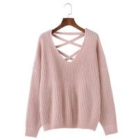 Fashion Back Bandage Lacing Sweater Women Autumn Batwing Sleeve Solid Pullovers Sweaters For Women Stylish Womens Sweater
