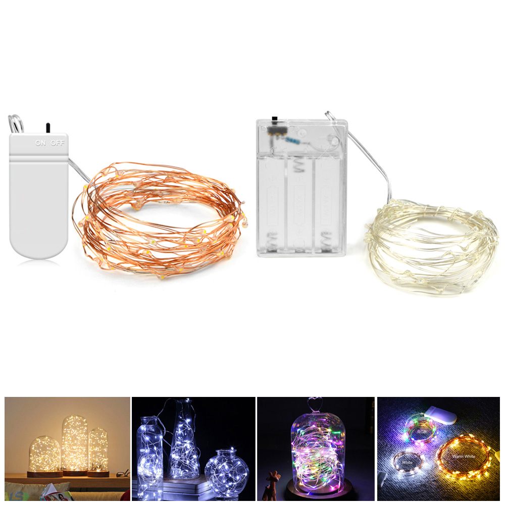 Copper String Lights Diy : DIY 2M 5M LED Copper Wire string light Waterproof Holiday Wedding decoration flower LED strip ...