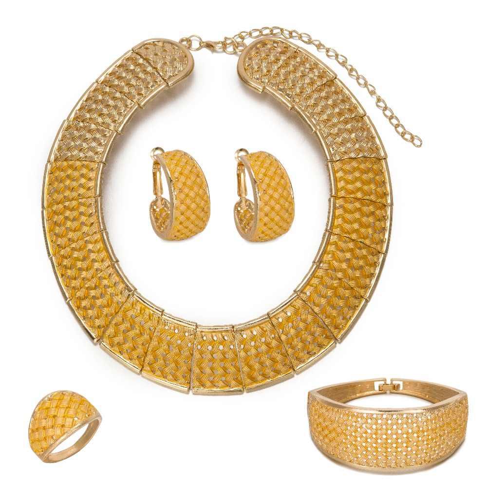 MUKUN אופנה מעודן דובאי תכשיטי סט יוקרה זהב צבע חתונה אפריקה ניגריה תכשיטים סיטונאי תכשיטי אבזרים