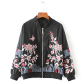 2017 Spring & Autumn Fashion Floral Embroidery Jacket New Women Contrast Color Bomber Jacket Black Pilots Outwear Coat