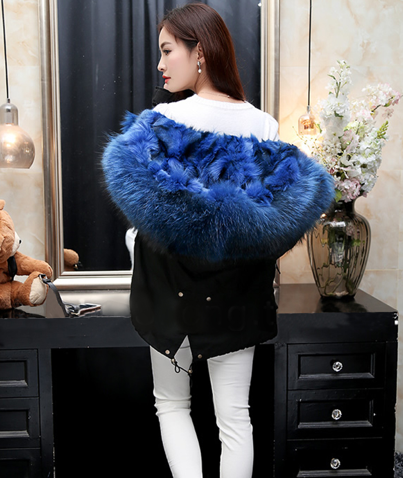 2017 New Women Winter Army Green&Black Jacket Coats Thick Parkas Plus Size Real fox Raccoon Collar Hooded Outwear &Fur coat